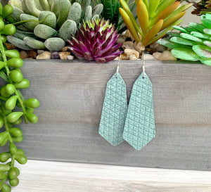 Gemma Genuine Leather Triangle Earrings - Seafoam