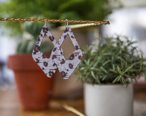 Harlequin Cork + Leather Earrings - Spotted White Leopard