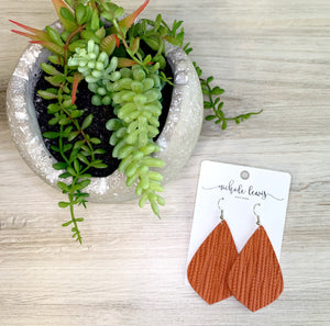 Piper Genuine Leather Palm Leaf Earrings - Terracotta