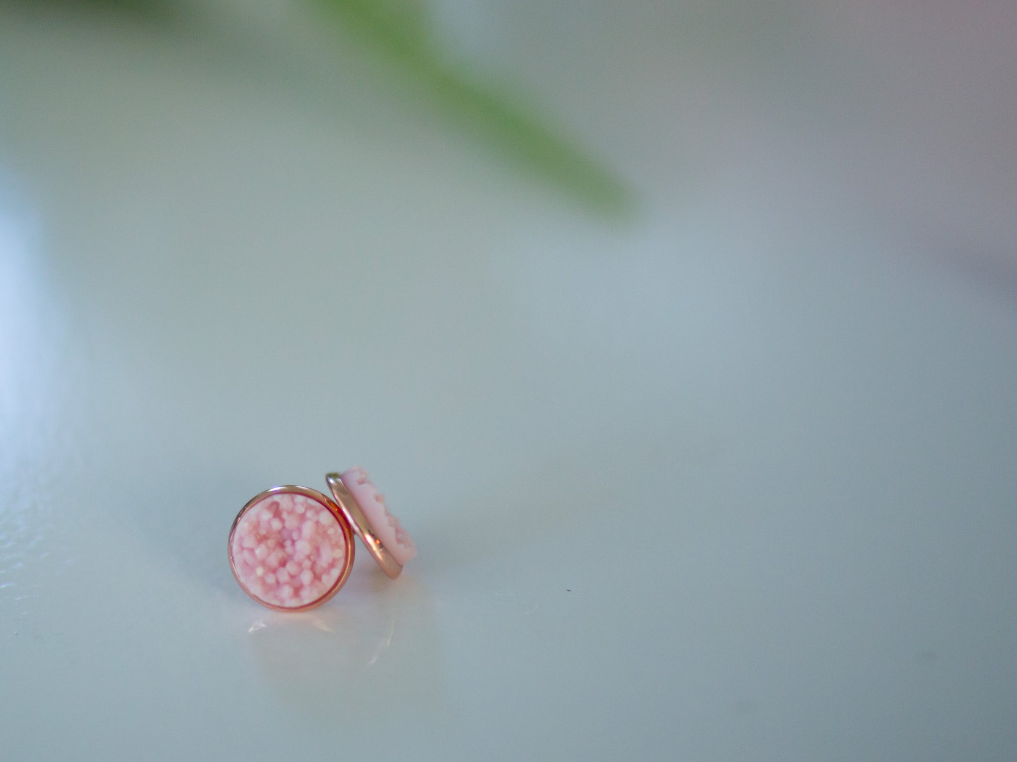 12mm Pink Druzy Stud Earrings