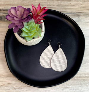 White Knot Genuine Leather Teardrop Earrings