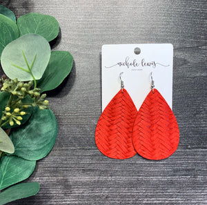 Braided Genuine Leather Teardrop Earrings - Red