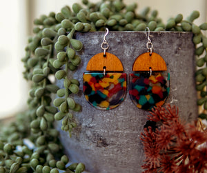 Wood + Acrylic Earrings - Warm Multi