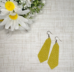 Gemma Genuine Leather Earrings - French Mustard Triangle
