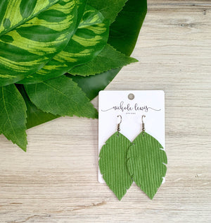 Boho Feather Leather Earrings - Lime Waves