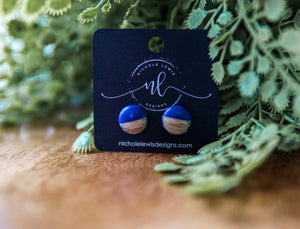 12mm Wood Inspired Studs - Navy