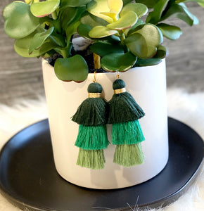 Triple Layered Tassel Earrings - Green