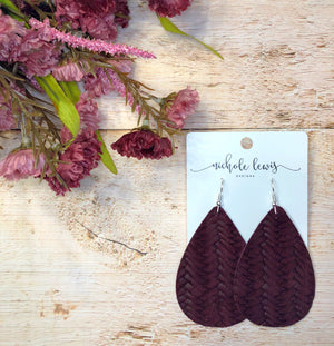 Braided Genuine Leather Teardrop Earrings - Dark Burgundy