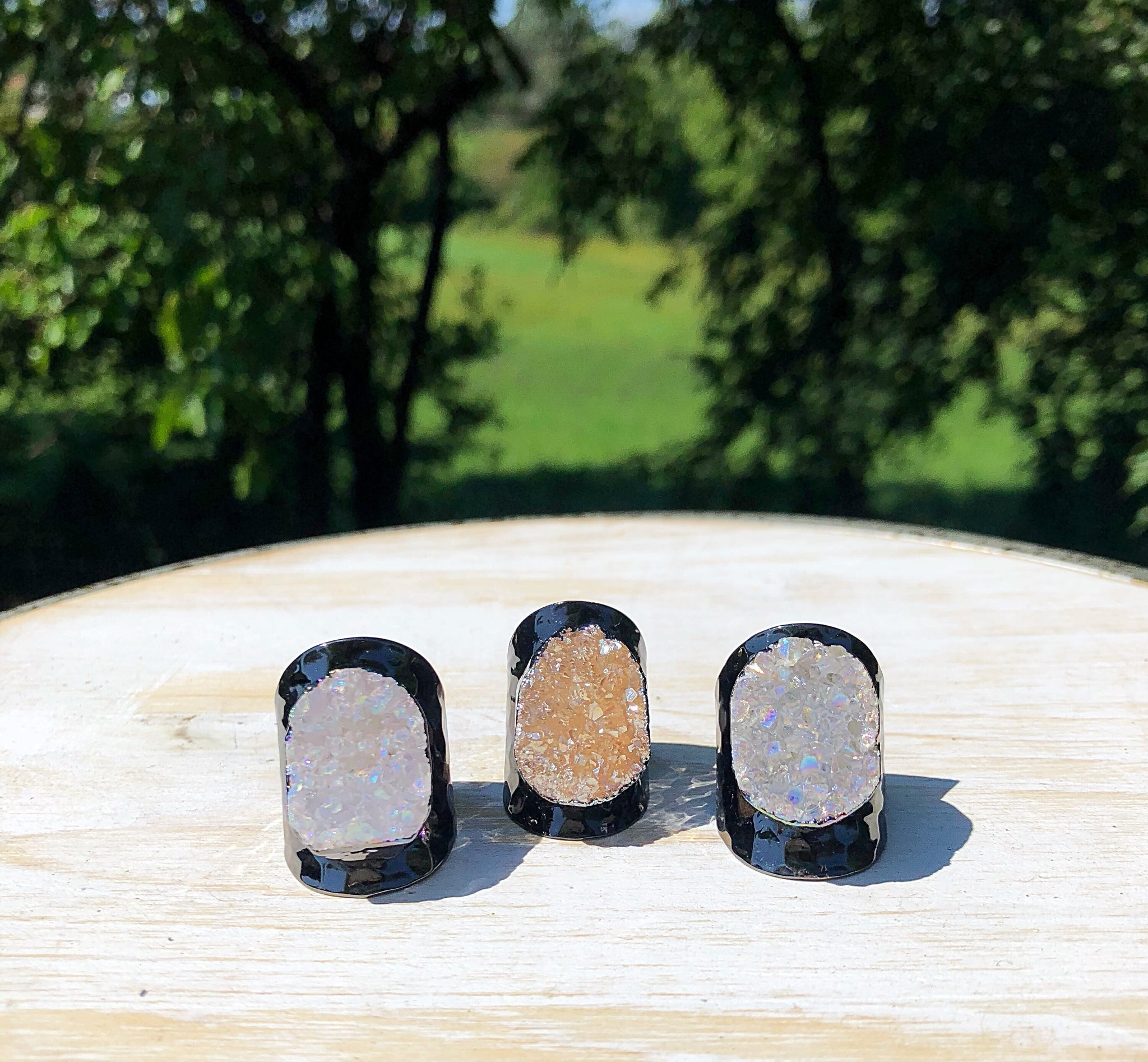 Premier Collection Druzy Statement Ring - Gunmetal