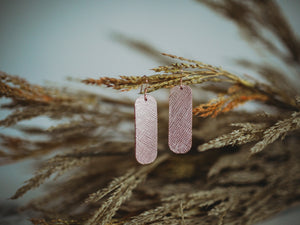 Little Bar Genuine Leather Earrings- Rose Gold