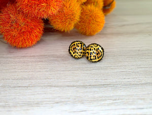 Bronze Leopard Crown Druzy Studs