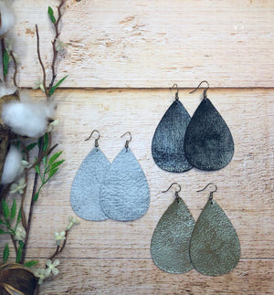 Rock N Roll Genuine Leather Teardrop Earrings - Black Satin