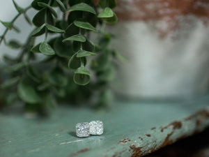 Raised Square Druzy Studs - Silver