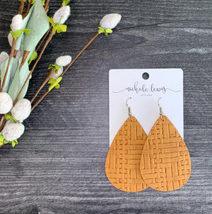 Basket Weave Genuine Leather Teardrop Earrings - Honey