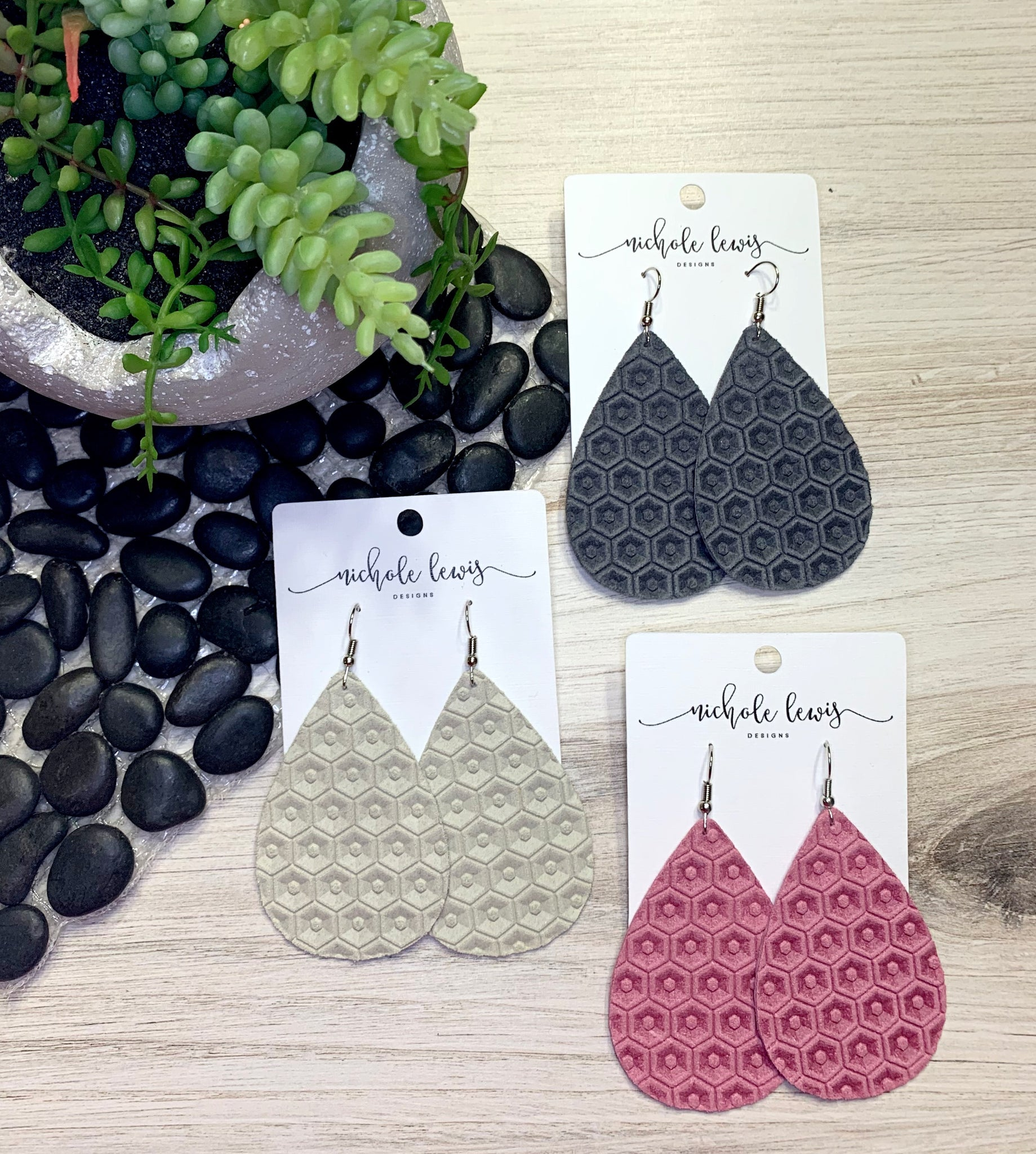 Honeycomb Genuine Leather Earrings - Eggshell