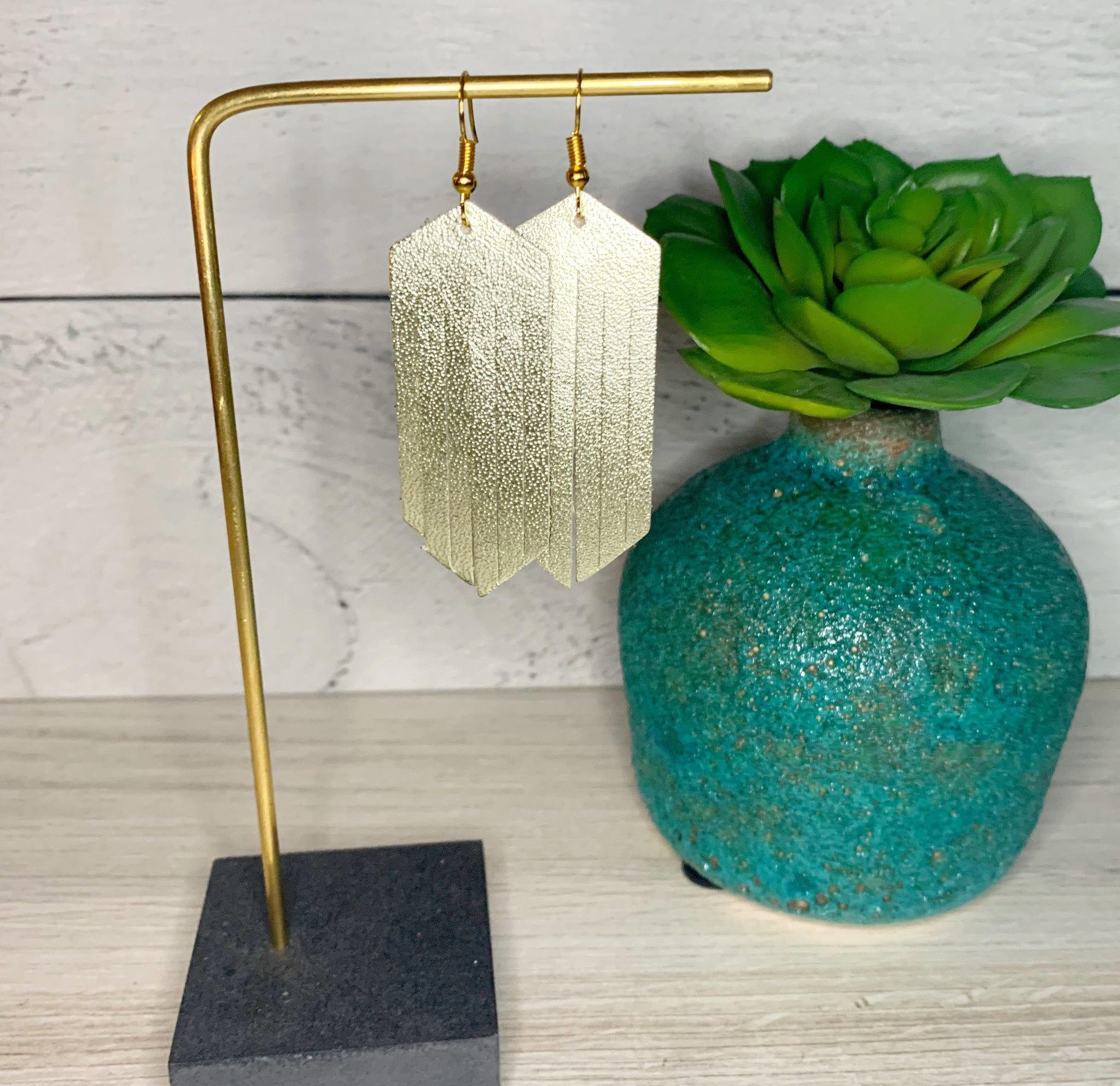 Fringe Leather Earrings - Platinum Gold
