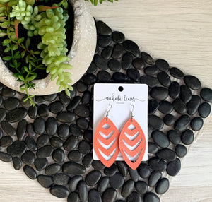 Kayla Genuine Leather Earrings- Coral Saffiano