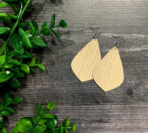 Piper Palm Leaf Genuine Leather Earrings - Clay