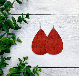 Genuine Leather + Cork Earring - Faded Red