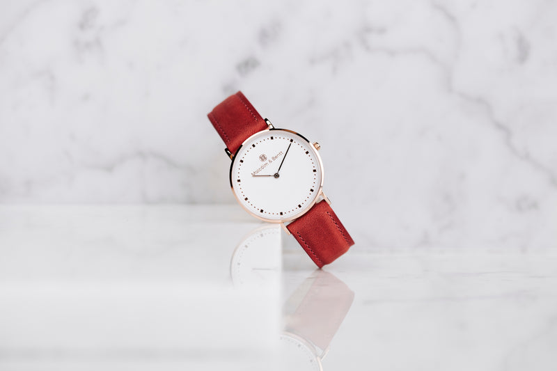 Red Gorby Leather STRAP - Gold
