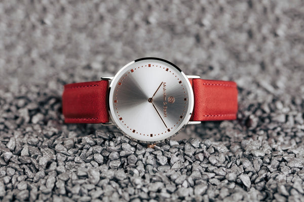Red Gorby Leather STRAP - Rose Gold