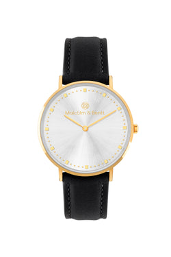 Gold/Silver Shiny ~ Black Leather women Watch