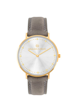 Gold/Silver Shiny ~ Grey Leather women Watch