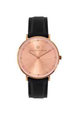 Coffee/Rose Gold Shiny ~ B. Leather women Watch