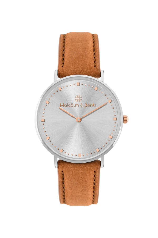 Silver Shiny ~ Brown Velvet women Watch