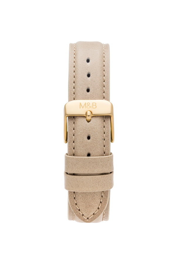 Gold/Silver Shiny ~ Beige Leather women Watch