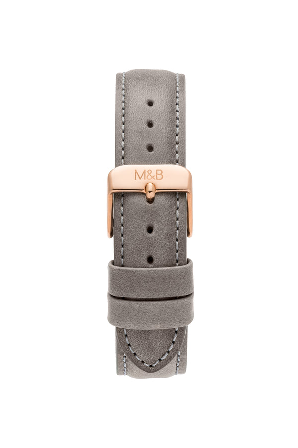 Rose Gold/White ~ Grey Leather women Watch