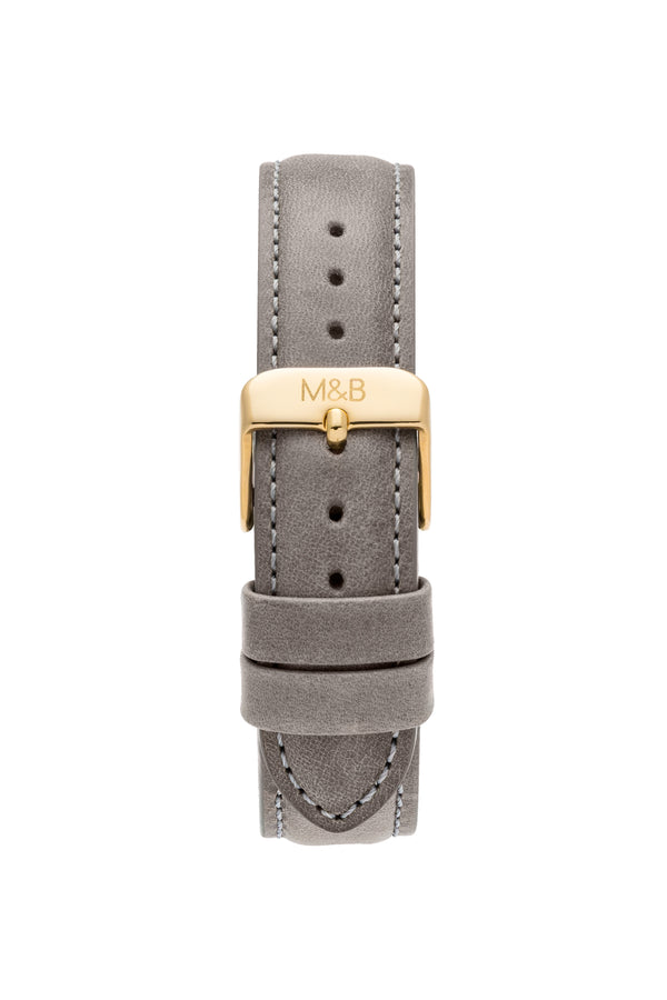 Grey Leather STRAP - Gold