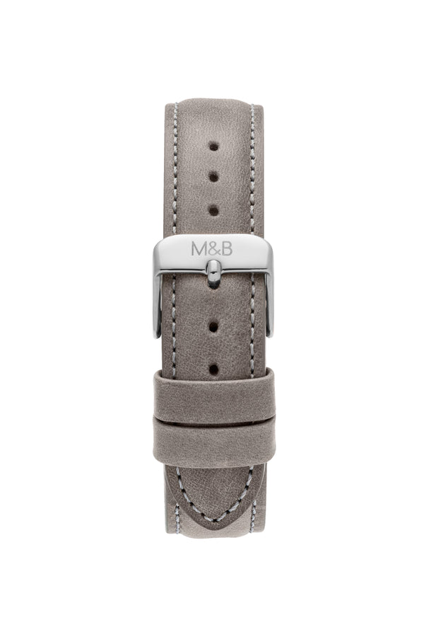 Grey Leather STRAP - Silver