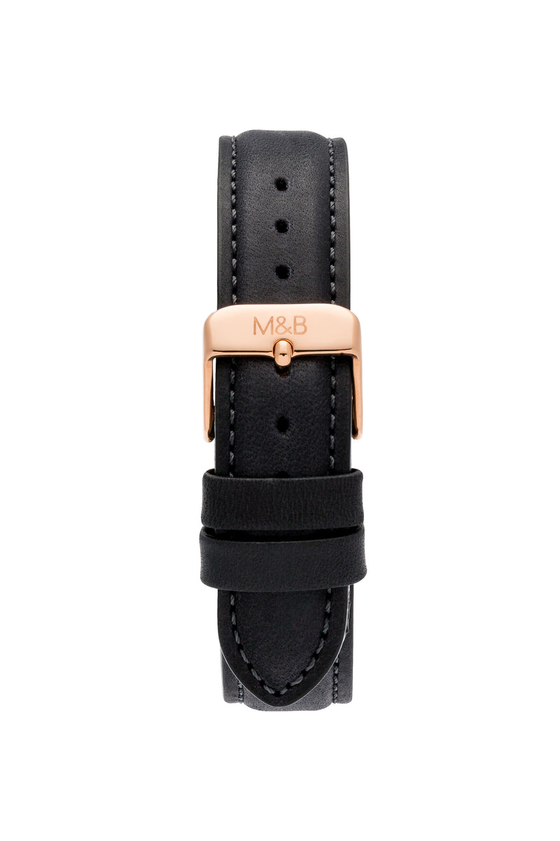 Rose Gold Shiny ~ Black Leather women Watch