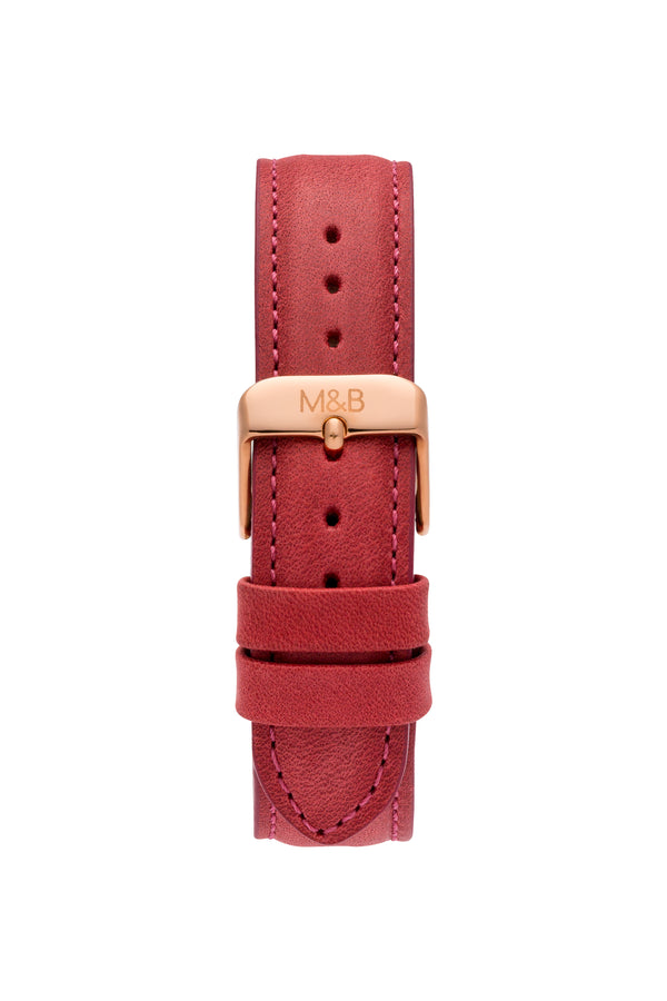 Rose Gold Shiny ~ Red Leather women Watch