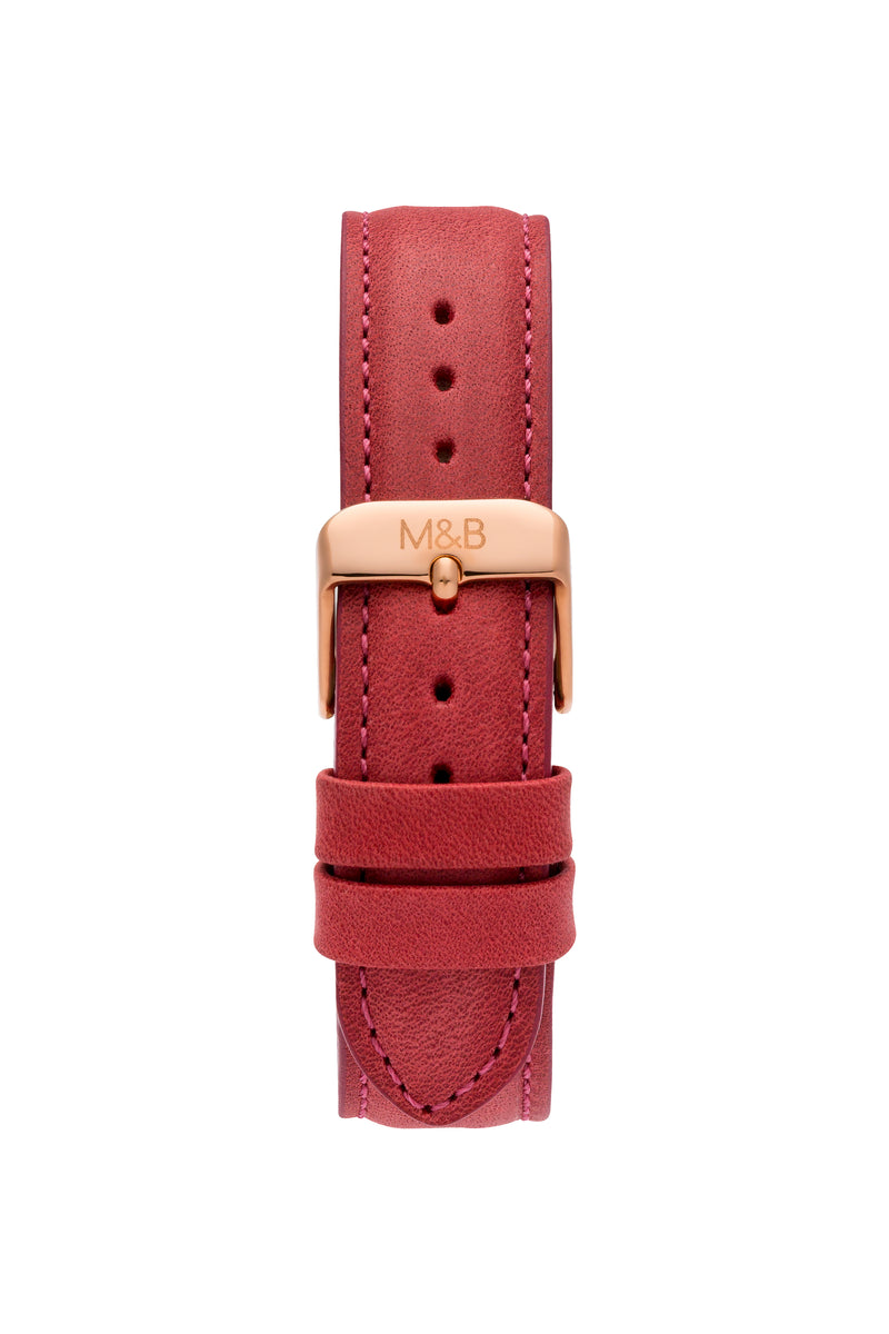 Rose Gold Shiny ~ Red Leather