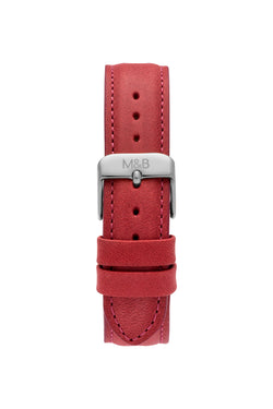 Red Gorby Leather STRAP - Silver