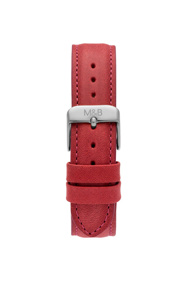 Silver Shiny ~ Red Leather women Watch