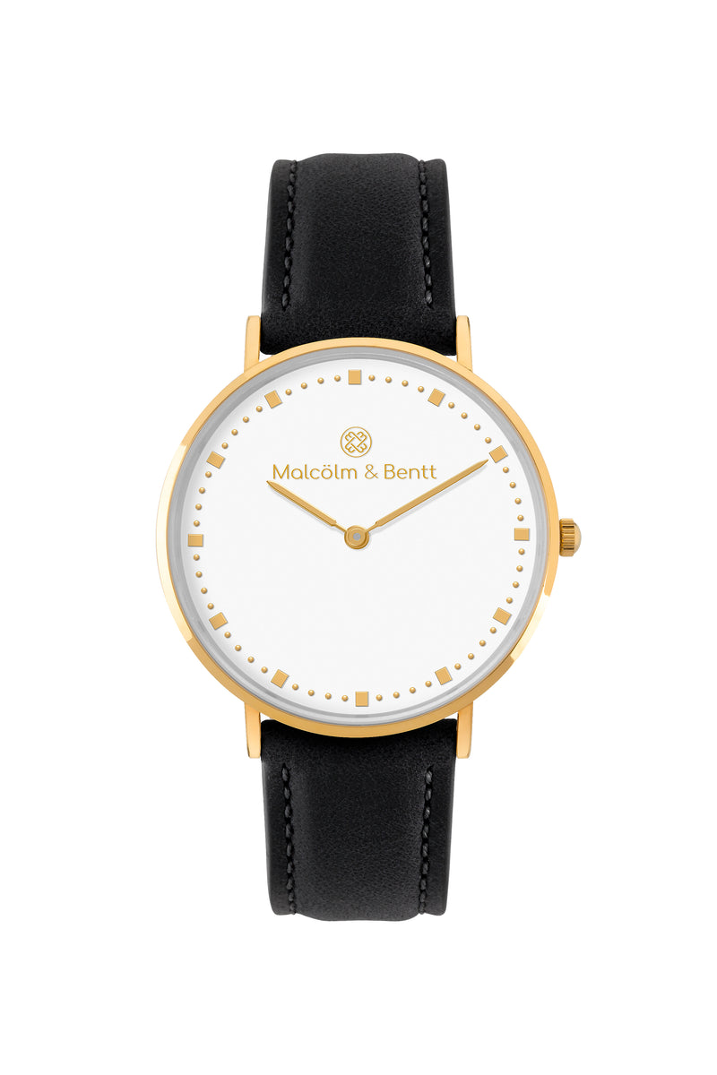 Gold/White ~ Black Leather women Watch