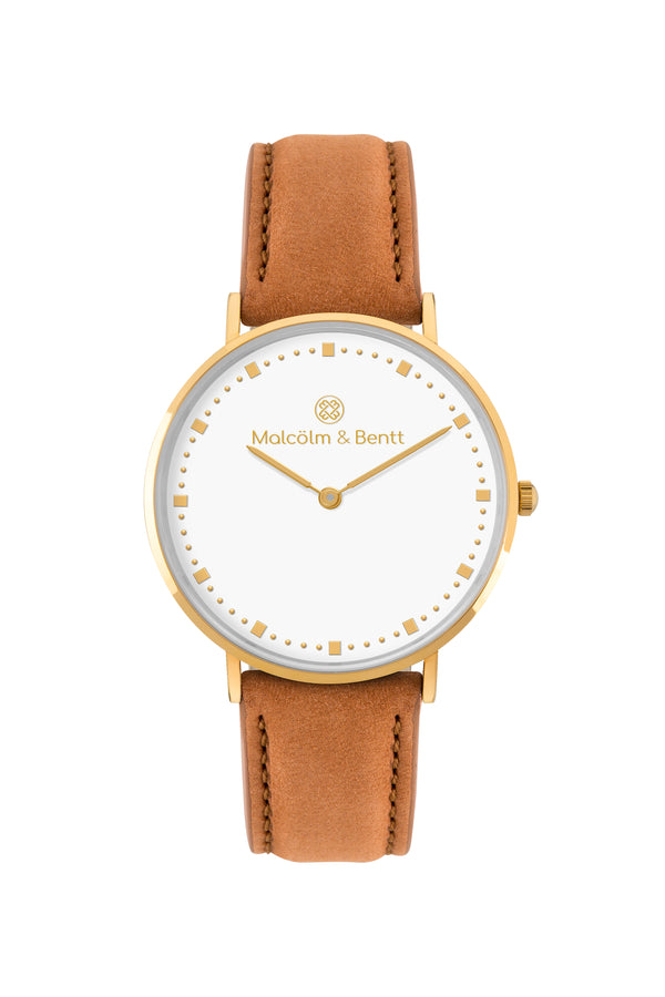 Gold/White ~ Brown Velvet women Watch