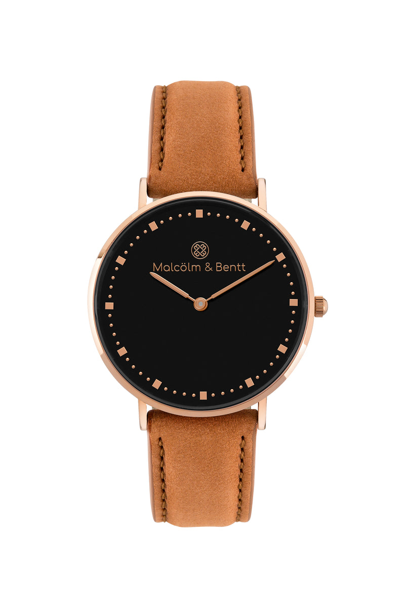 Rose Gold/Black ~ Brown Velvet women Watch