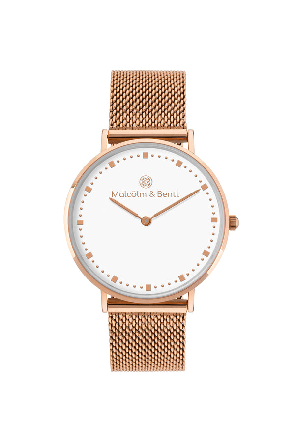 Rose Gold/White ~ R.G. Mesh women Watch
