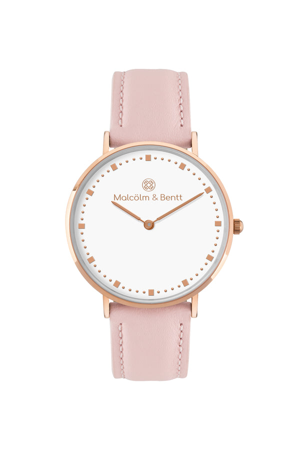 Rose Gold/White ~ Pink Leather women Watch