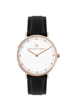 Rose Gold/White ~ Black Leather