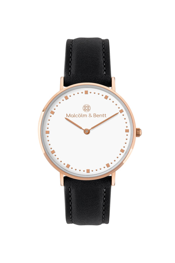 Rose Gold/White ~ Black Leather women Watch