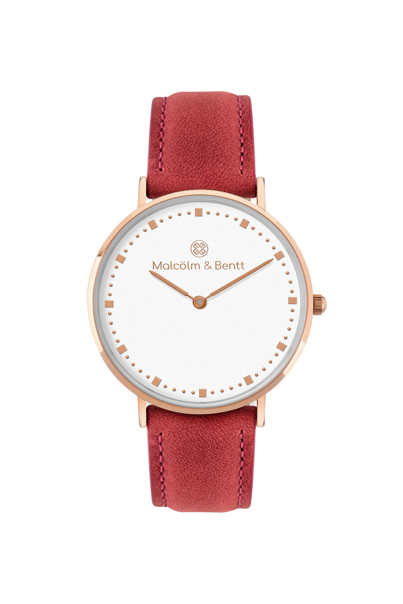 Rose Gold/White ~ Red Leather women Watch