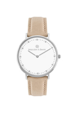 Silver/White ~ Beige Leather women Watch