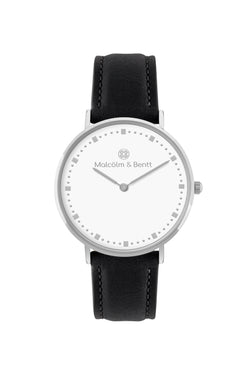 Silver/White ~ Black Leather women Watch