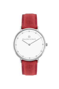 Silver/White ~ Red Leather women Watch