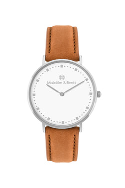 Silver/White ~ Brown Velvet women Watch